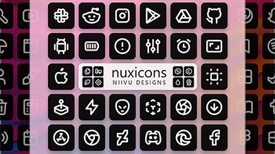 黑白方块风格图标包 NUX
